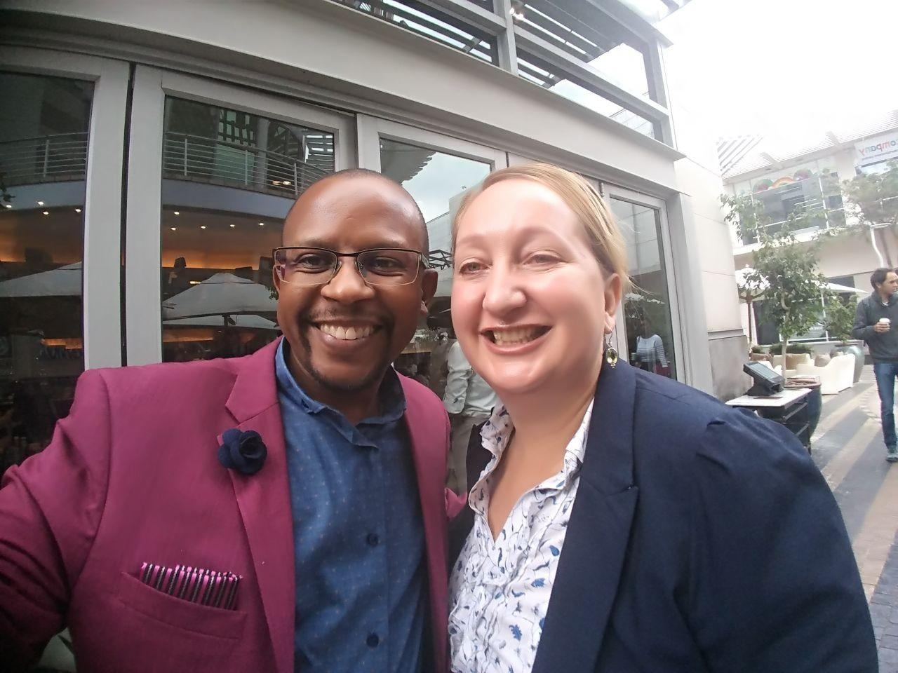 Sello Hatang and Tracey Webster meet to organise a Tutu Fellows dialogue