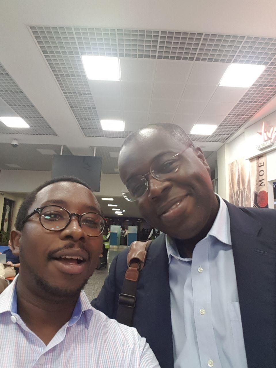 2010 Fellows Edwin Macharia and Eric Kacou bump into each other at an airport somewhere...