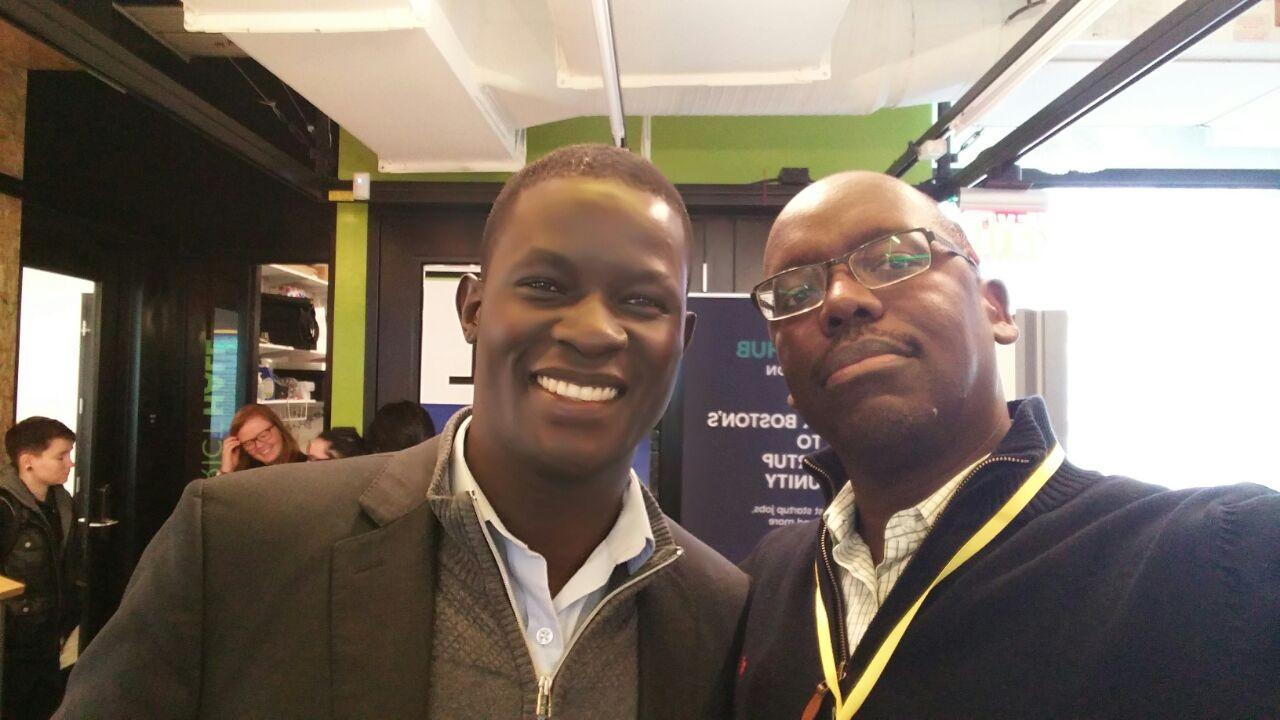 Victor Ochen and Aidan Eyakuze at a conference in Boston on Resilience in Children