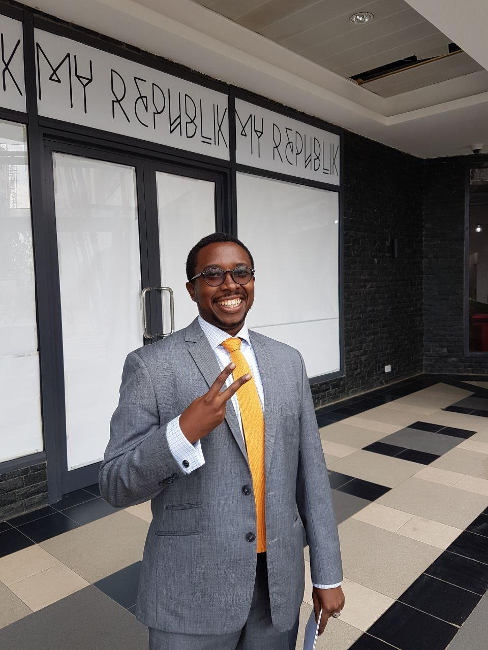 Edwin Macharia outside My Republik, Namibian Ally Angula's newly opened store in Rwanda